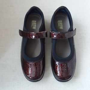Drew Rose Mary Jane Brown Croc patent shoes